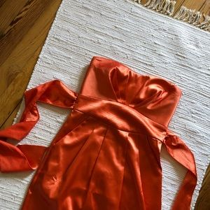 Trixxi orange, satin-feel mini cocktail dress